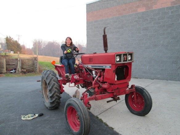 No, I don't know how to drive this tractor yet. I'm just sitting on it.