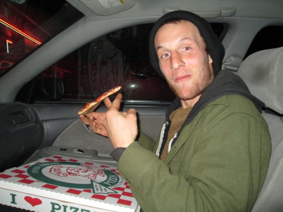 This doofus drove hours out of his way to get some upside down pizza. Derek, who despite many appearances on my blog, hates having his picture taken and is loafing in the back.