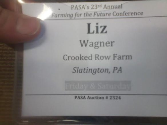 Look! I got a name tag with the name of the farm - like a legitimate person!