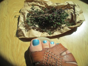 No, I didn't strategically place this thyme in such a way that you could see the sweet pedicures we went and got. Oh, wait.