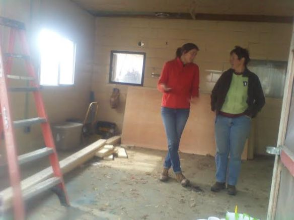 Stef visualizes her cheese room space with Angie from Oley Valley Mushrooms.