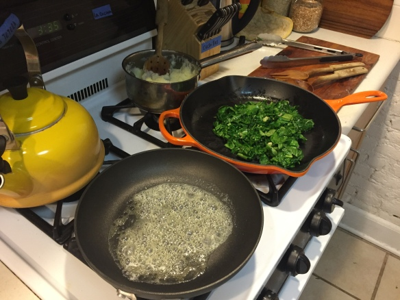 Sizzling butter..! Look at those greens and mashed potatoes ready to eat!